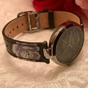Coach Park Floral Rose Leather Strap Womens' Watch